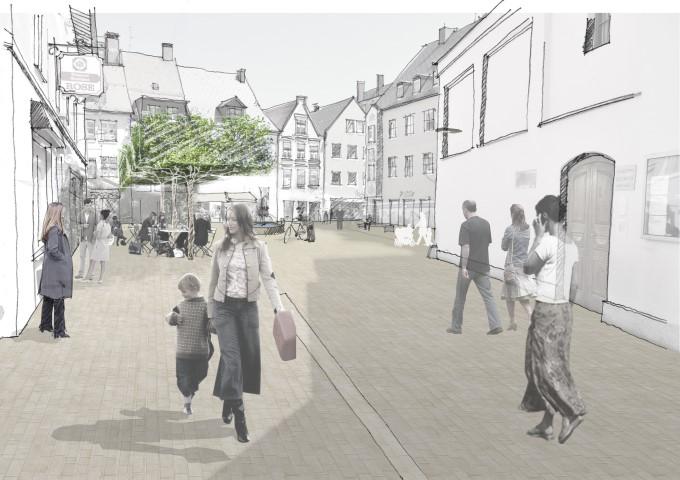 So könnte der Obstmarkt nach Vorstellung der Landschaftsarchitekten realgrün aus München in Zukunft aussehen. (Foto: realgrün, München)