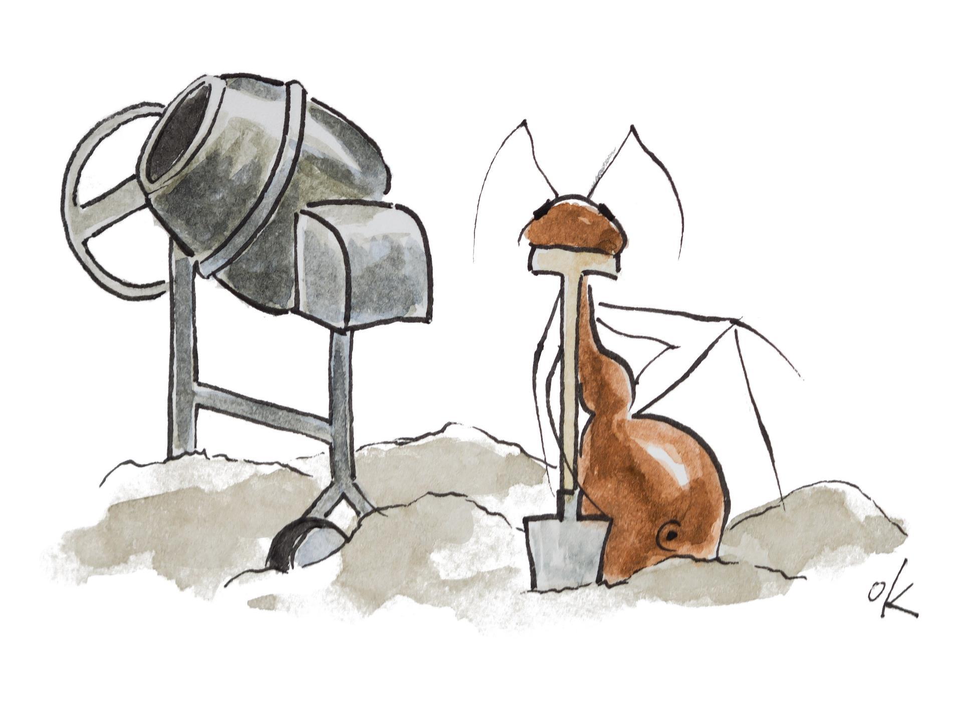Mit einem Augenzwinkern: Die Ameisen des Kaufbeurer Künstlers Oliver Kromm werden im Rahmen des Baustellenmarketings immer wieder zu sehen sein.